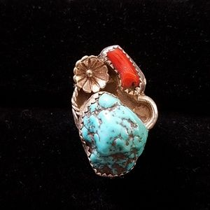 Jewelry - Nugget turquoise and coral branch ring size 7.25